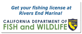 Get your fishing license at Rivers End Marina.