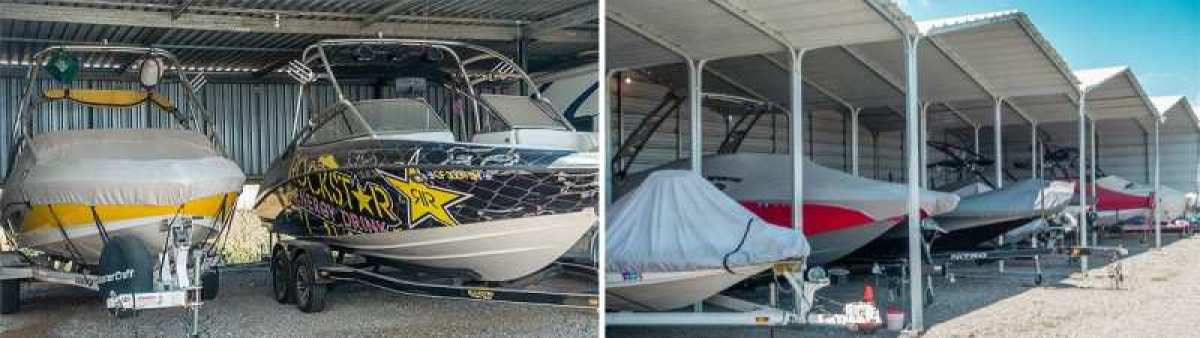 Covered boat storage protects your boat from the elements!